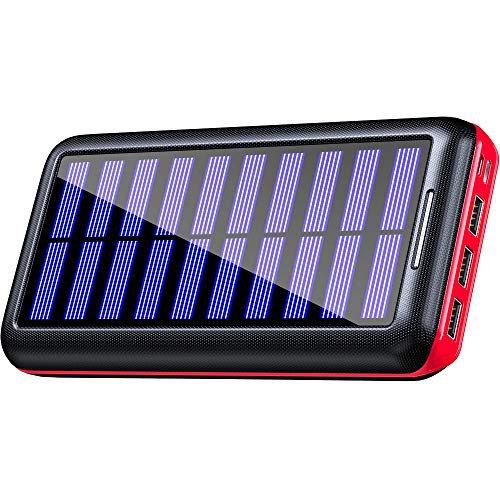 Kedron Powerbank 24000mAh Solar Ladegerät Externer Akku 3 USB Anschlüsse