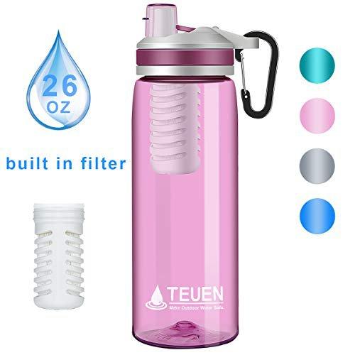 TEUEN Wasserfilter Trinkflasche 770ml Wasserflasche mit Filter Entfernt Bakterien & Protozoen, Camping Wasseraufbereitung Trinkwasser Portabler Wasserfilter Outdoor Survival Trinkwasserfilter (Rosa)